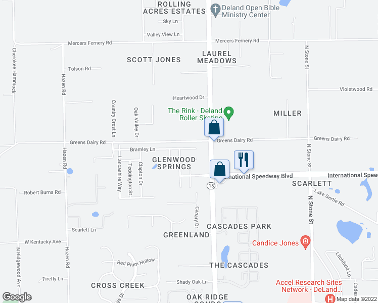map of restaurants, bars, coffee shops, grocery stores, and more near 1216 Bramley Lane in DeLand