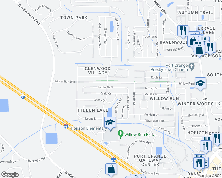 map of restaurants, bars, coffee shops, grocery stores, and more near 4700-4702 Hidden Lake Drive in Port Orange