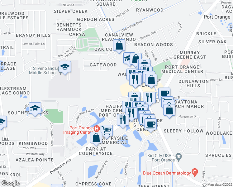 map of restaurants, bars, coffee shops, grocery stores, and more near 1025 Eagle Lake Trail in Port Orange