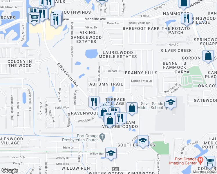 map of restaurants, bars, coffee shops, grocery stores, and more near in Port Orange