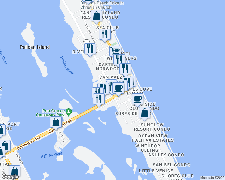 map of restaurants, bars, coffee shops, grocery stores, and more near South Peninsula Drive in Volusia County