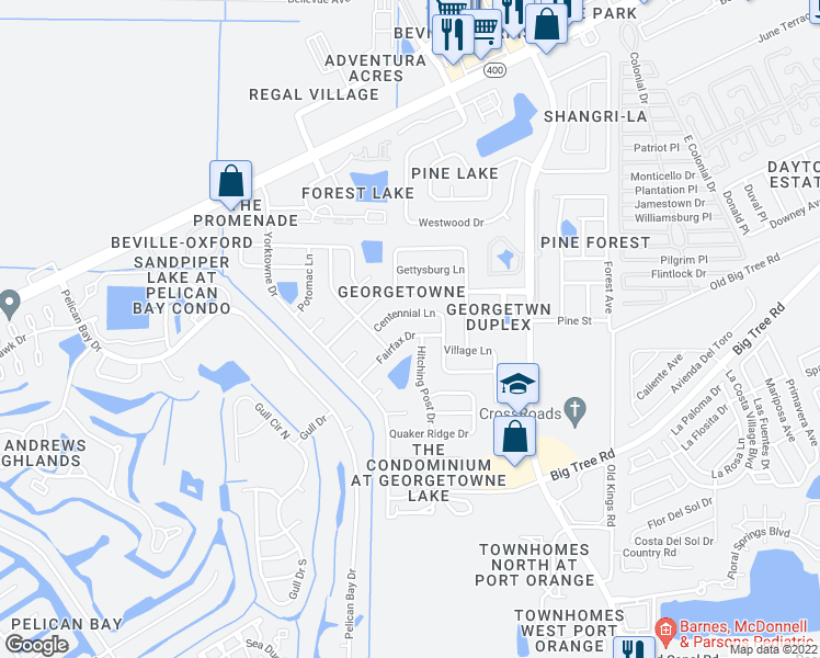 map of restaurants, bars, coffee shops, grocery stores, and more near 203 Fairfax Drive in Daytona Beach