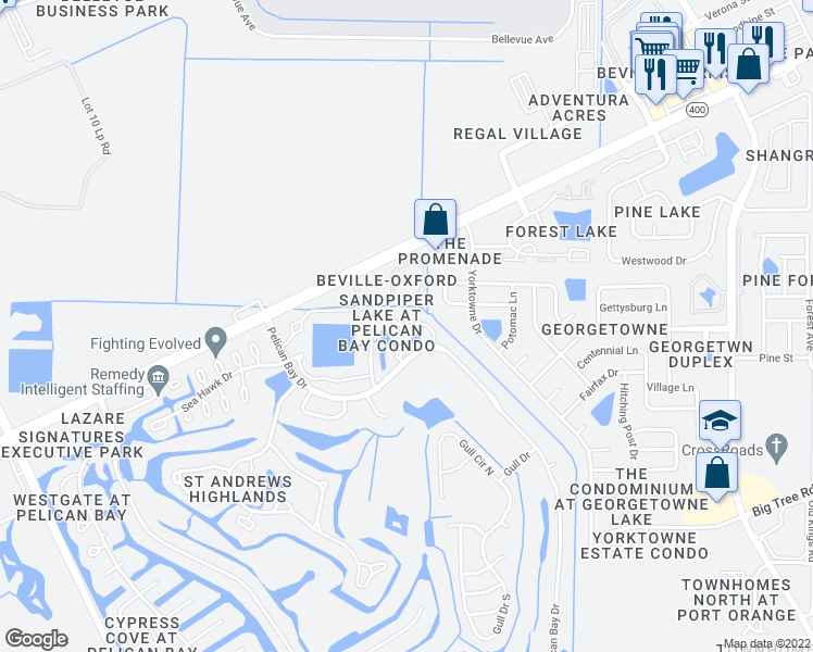 map of restaurants, bars, coffee shops, grocery stores, and more near Blue Heron Drive in Daytona Beach
