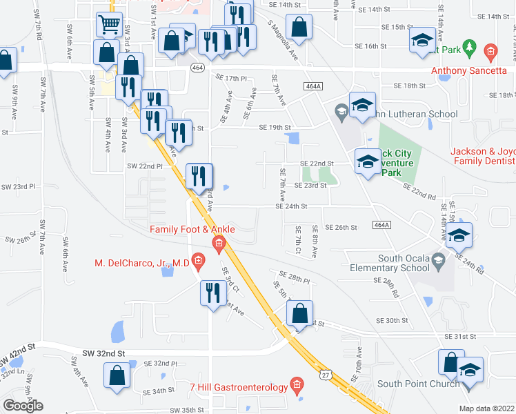 map of restaurants, bars, coffee shops, grocery stores, and more near 2404 Southeast 5th Circle in Ocala