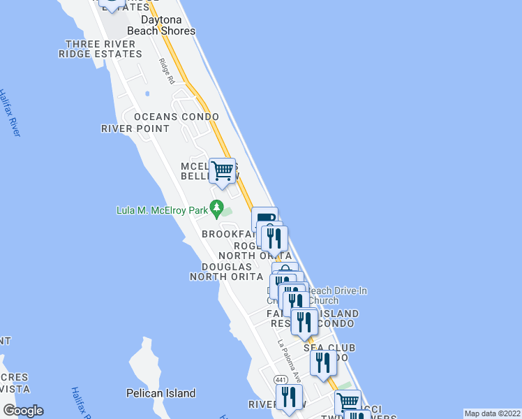 map of restaurants, bars, coffee shops, grocery stores, and more near 3051 South Atlantic Avenue in Daytona Beach