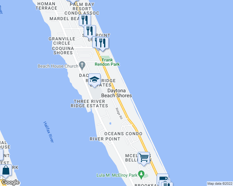 map of restaurants, bars, coffee shops, grocery stores, and more near Shores Boulevard in Daytona Beach