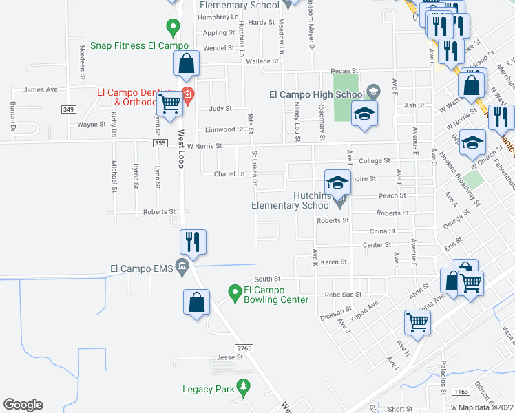 map of restaurants, bars, coffee shops, grocery stores, and more near 1206 Quail Hollow Drive in El Campo