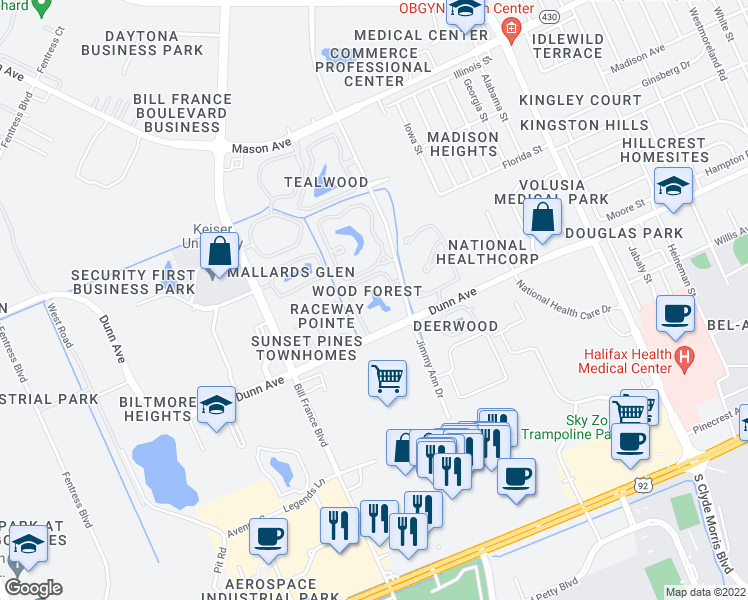 map of restaurants, bars, coffee shops, grocery stores, and more near 500 Jimmy Ann Drive in Daytona Beach