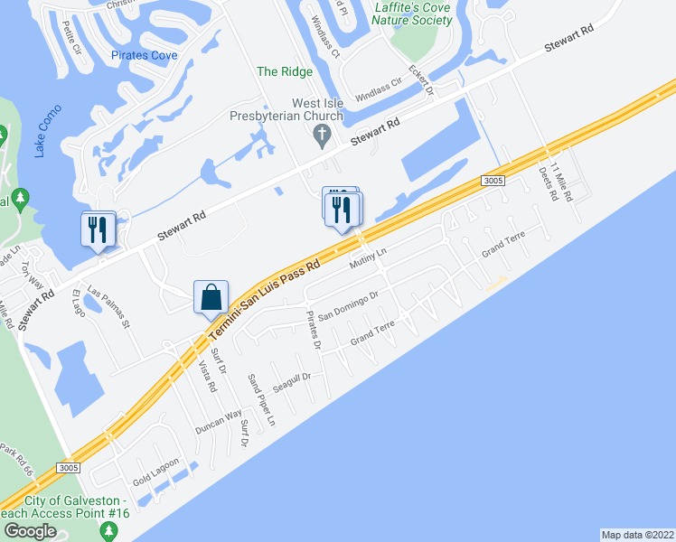 map of restaurants, bars, coffee shops, grocery stores, and more near 13801-13831 Mutiny Lane in Galveston