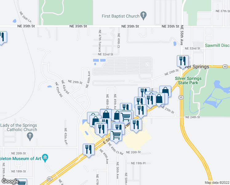 map of restaurants, bars, coffee shops, grocery stores, and more near 2828 Northeast 49th Avenue in Ocala