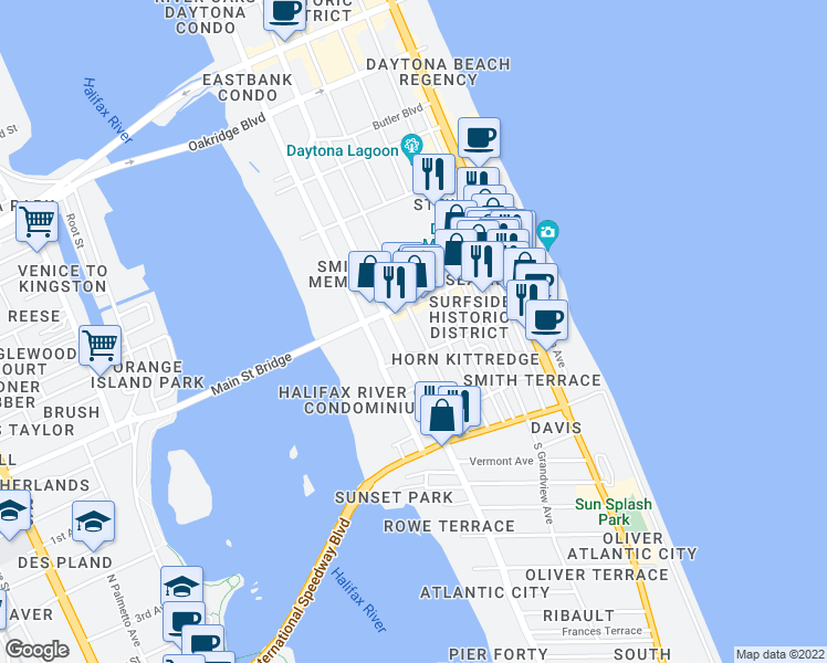 map of restaurants, bars, coffee shops, grocery stores, and more near 26 South Hollywood Avenue in Daytona Beach