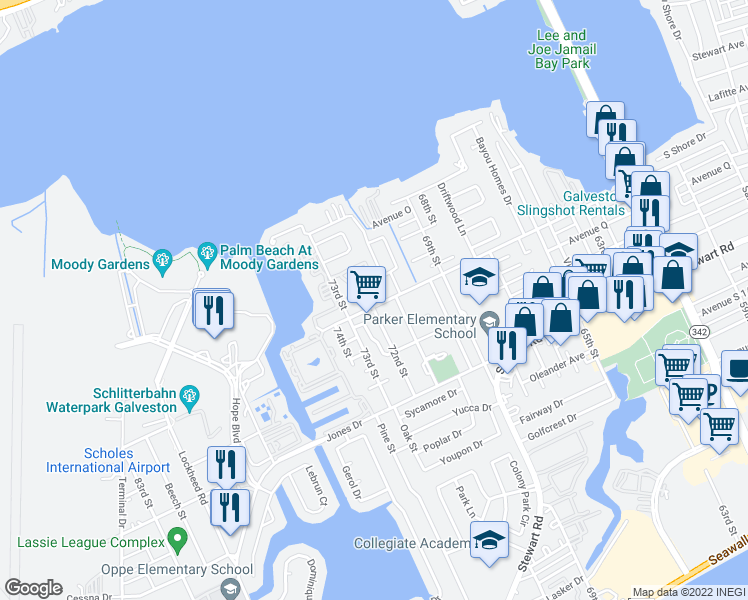 map of restaurants, bars, coffee shops, grocery stores, and more near 7200 Heards Lane in Galveston
