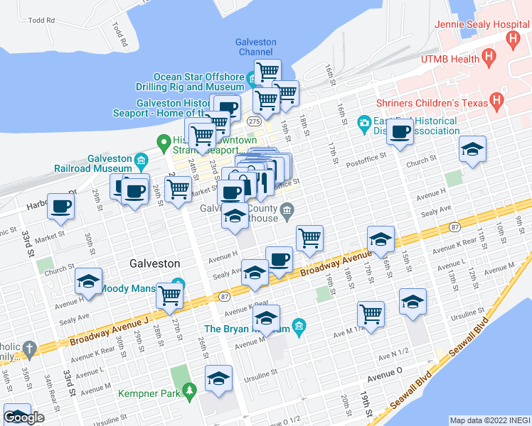 map of restaurants, bars, coffee shops, grocery stores, and more near 2101 Church Street in Galveston