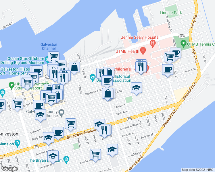 map of restaurants, bars, coffee shops, grocery stores, and more near 1320 Postoffice Street in Galveston