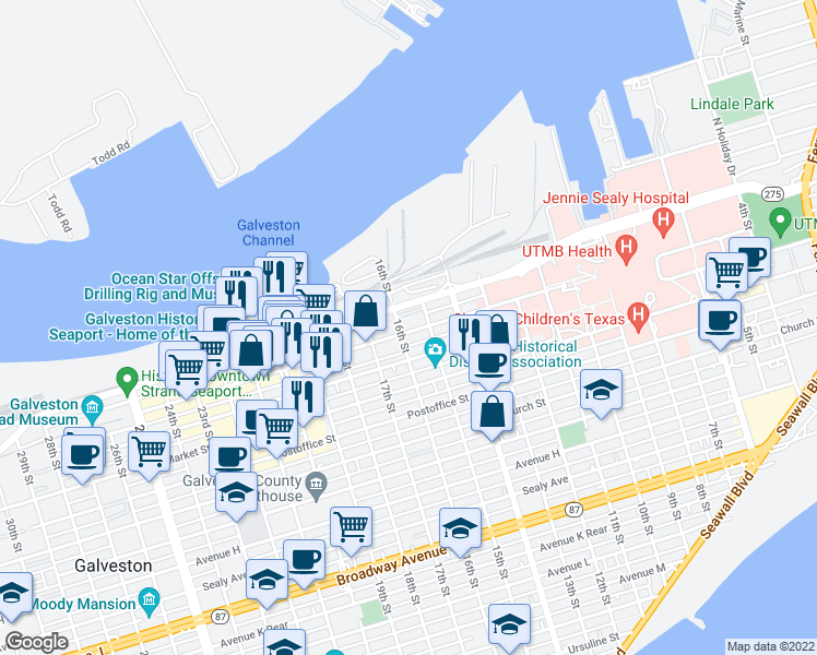 map of restaurants, bars, coffee shops, grocery stores, and more near 1524 Strand Street in Galveston