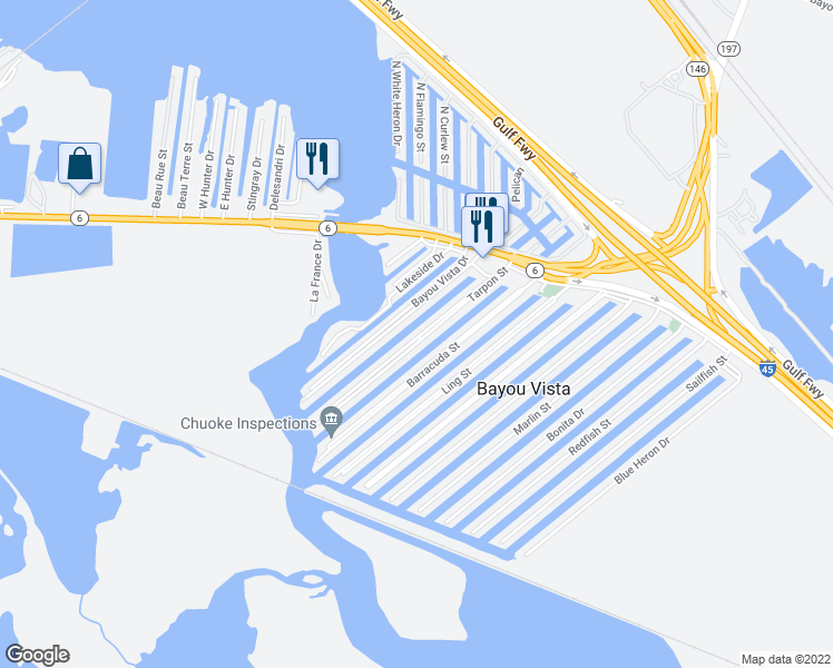 map of restaurants, bars, coffee shops, grocery stores, and more near 71 Tarpon St in Bayou Vista