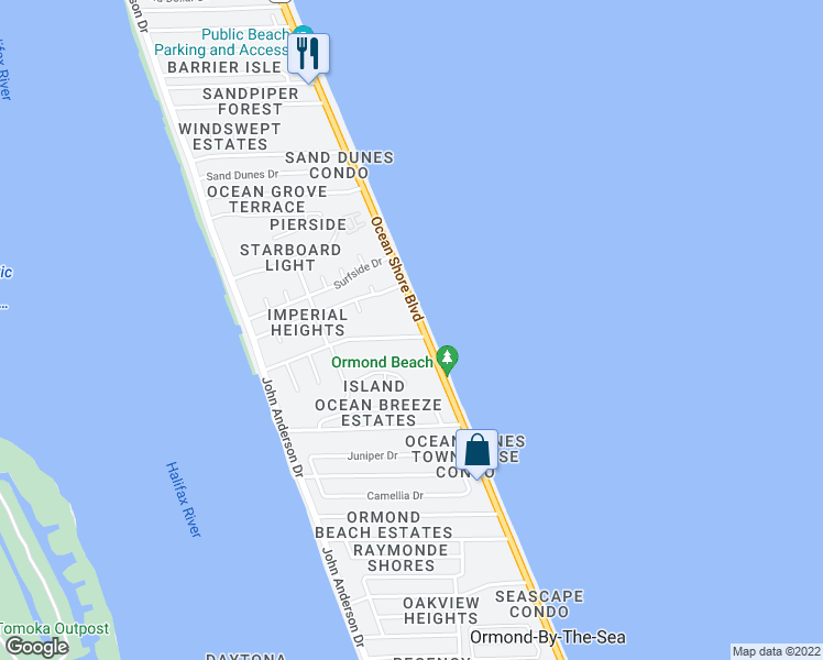 map of restaurants, bars, coffee shops, grocery stores, and more near 2740 Ocean Shore Boulevard in Ormond Beach