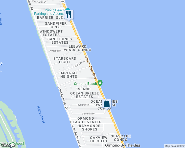 map of restaurants, bars, coffee shops, grocery stores, and more near 2750 Ocean Shore Boulevard in Ormond Beach