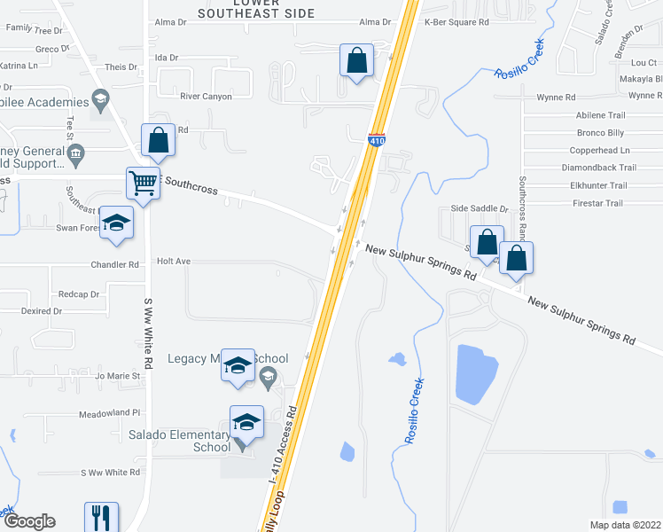 map of restaurants, bars, coffee shops, grocery stores, and more near 5903 Interstate 410 Access Road in San Antonio