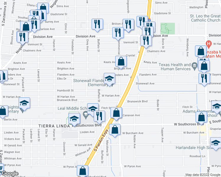 map of restaurants, bars, coffee shops, grocery stores, and more near 848 Stonewall Street in San Antonio