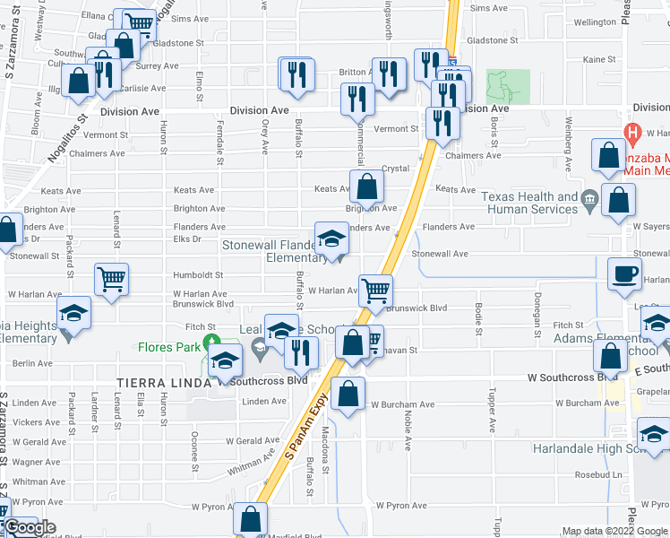 map of restaurants, bars, coffee shops, grocery stores, and more near 844 Stonewall Street in San Antonio