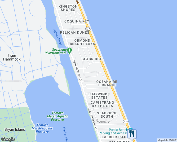 map of restaurants, bars, coffee shops, grocery stores, and more near 48 Sea Island Drive South in Ormond Beach