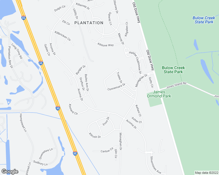 map of restaurants, bars, coffee shops, grocery stores, and more near 3149 Connemara Drive in Ormond Beach