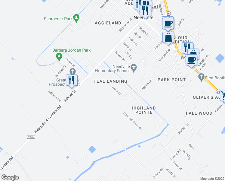 map of restaurants, bars, coffee shops, grocery stores, and more near 9202 Anna Street in Needville