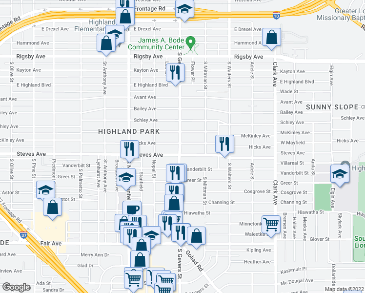 map of restaurants, bars, coffee shops, grocery stores, and more near 1702 Hicks Avenue in San Antonio