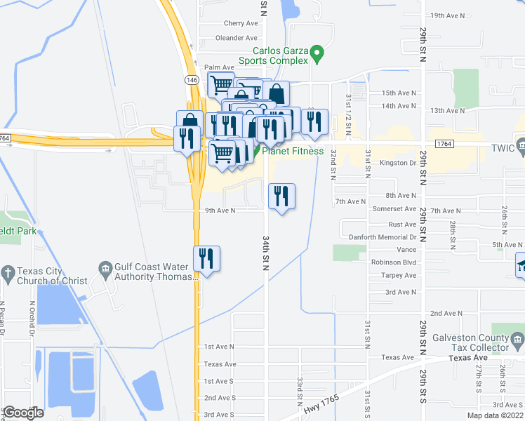 map of restaurants, bars, coffee shops, grocery stores, and more near 501-899 34th Street North in Texas City