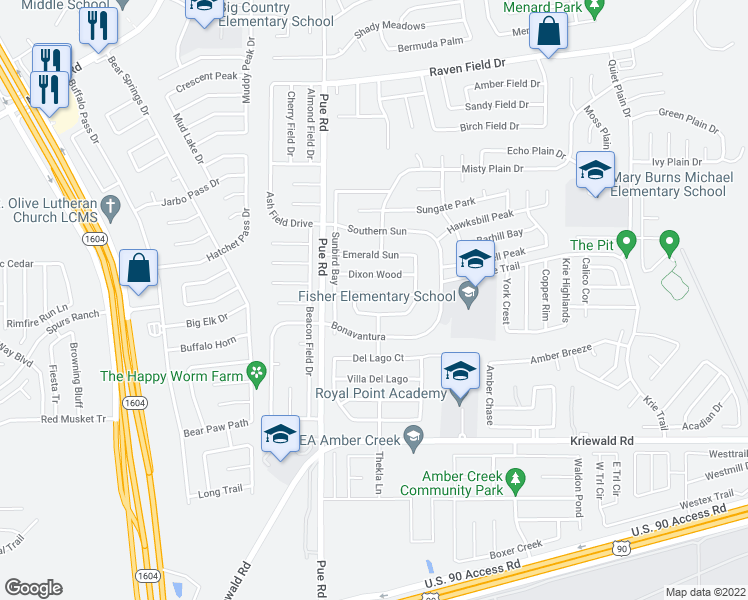 map of restaurants, bars, coffee shops, grocery stores, and more near 10202 Maple Ranch in San Antonio