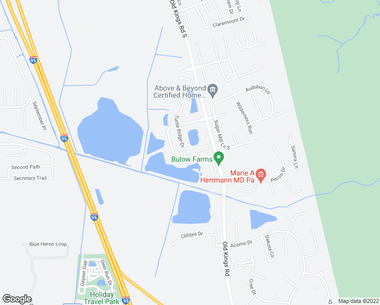 map of restaurants, bars, coffee shops, grocery stores, and more near 59 Eagle Lake Drive in Flagler Beach