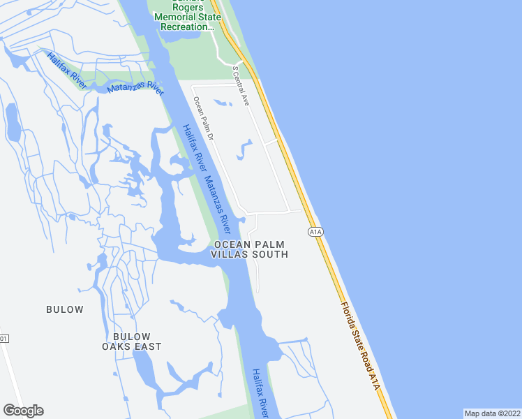 map of restaurants, bars, coffee shops, grocery stores, and more near 34 Ocean Palm Villa North in Flagler Beach