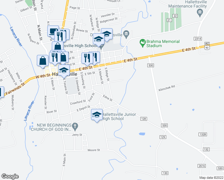 map of restaurants, bars, coffee shops, grocery stores, and more near 411 South Ridge Street in Hallettsville