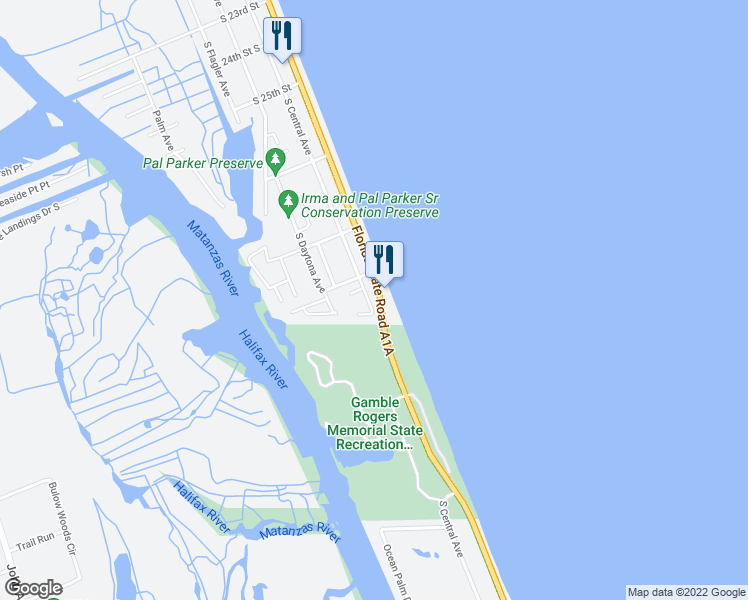map of restaurants, bars, coffee shops, grocery stores, and more near 2841 South Central Avenue in Flagler Beach