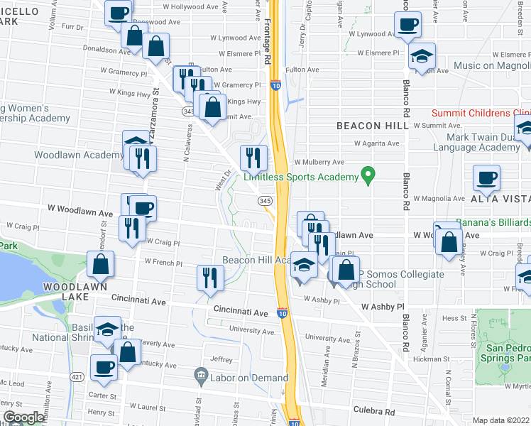 map of restaurants, bars, coffee shops, grocery stores, and more near in San Antonio