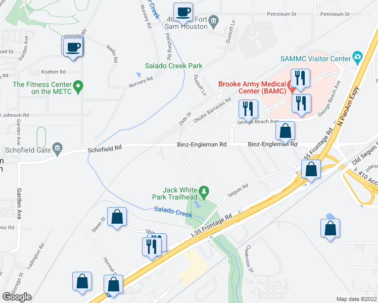 map of restaurants, bars, coffee shops, grocery stores, and more near 3714 Binz-Engleman Road in San Antonio