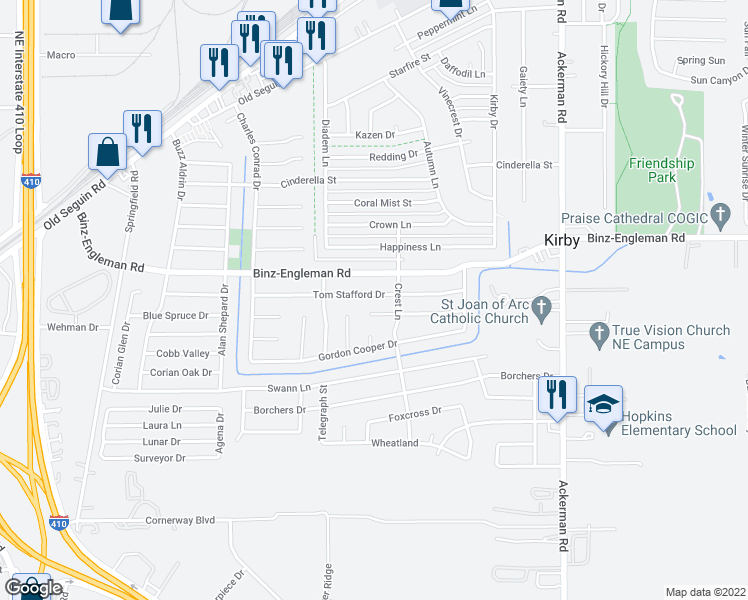 map of restaurants, bars, coffee shops, grocery stores, and more near 5107 Alan Bean Drive in San Antonio