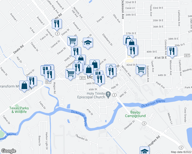 map of restaurants, bars, coffee shops, grocery stores, and more near in Dickinson