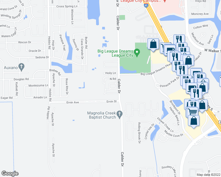 map of restaurants, bars, coffee shops, grocery stores, and more near South Dr in League City