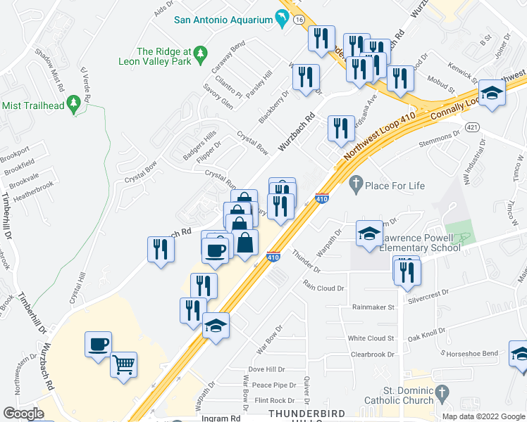 map of restaurants, bars, coffee shops, grocery stores, and more near Roxbury Rd in San Antonio