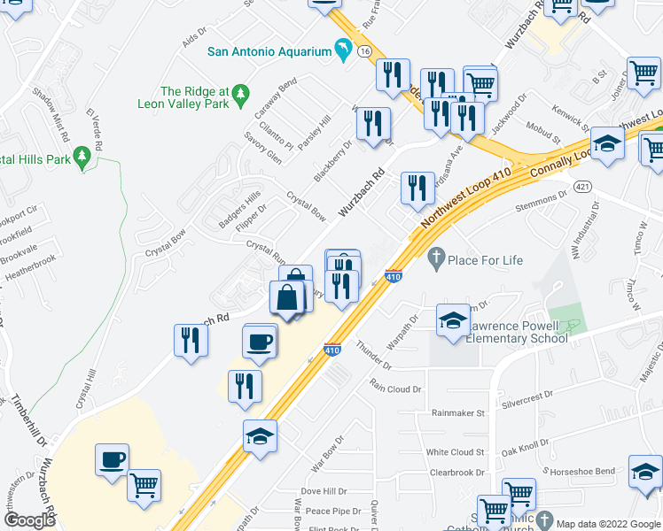 map of restaurants, bars, coffee shops, grocery stores, and more near 6202 Roxbury Drive in San Antonio