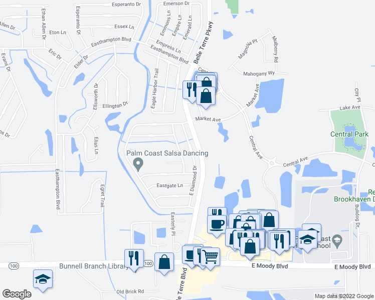 map of restaurants, bars, coffee shops, grocery stores, and more near 37 East Diamond Drive in Palm Coast