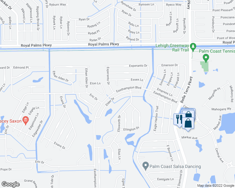 map of restaurants, bars, coffee shops, grocery stores, and more near 14 Elder Drive in Palm Coast