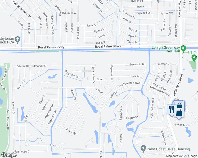 map of restaurants, bars, coffee shops, grocery stores, and more near 5b Eton Lane in Palm Coast