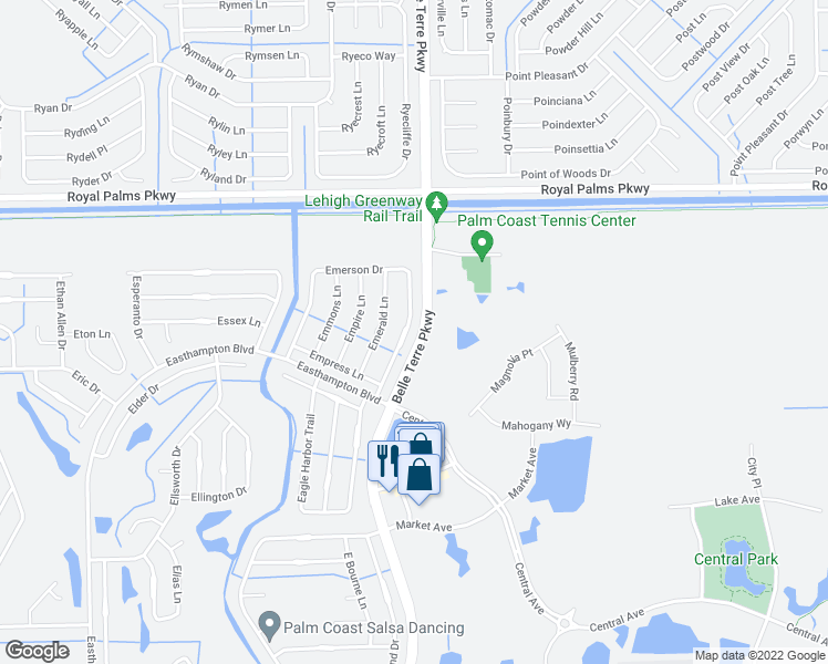 map of restaurants, bars, coffee shops, grocery stores, and more near 20 Emerson Dr in Palm Coast