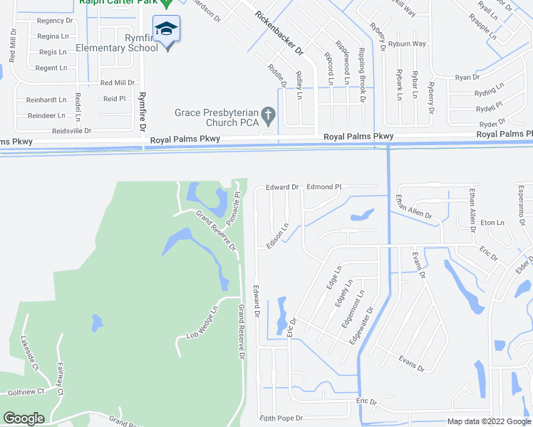 map of restaurants, bars, coffee shops, grocery stores, and more near 13 Edwin Lane in Palm Coast