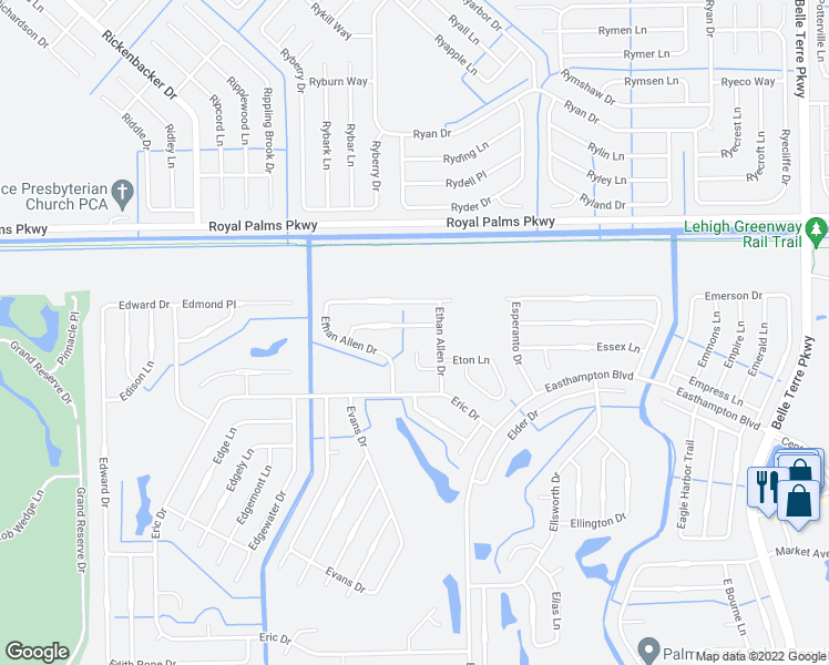 map of restaurants, bars, coffee shops, grocery stores, and more near 7 Ethel Lane in Palm Coast