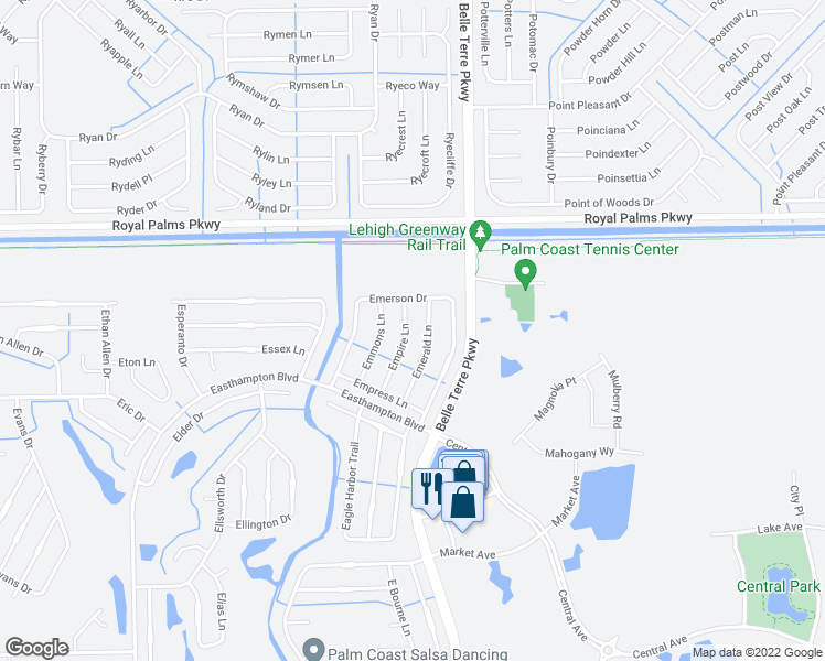 map of restaurants, bars, coffee shops, grocery stores, and more near 18 Empire Lane in Palm Coast