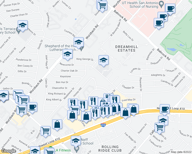 map of restaurants, bars, coffee shops, grocery stores, and more near 5034 Newforest street in San Antonio